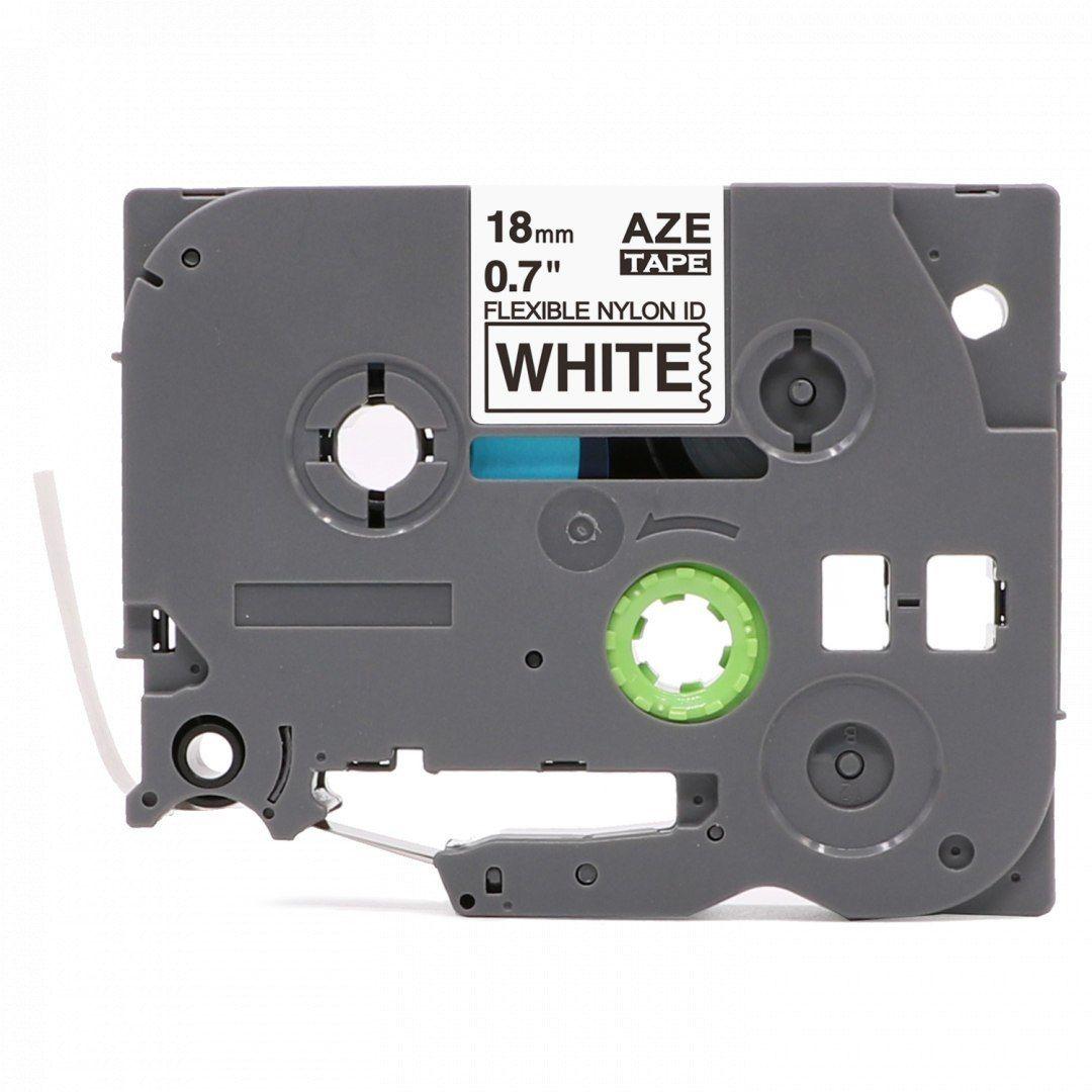 Taśma Brother TZe-NFX241 nylon mocny klej 18mm x 5m biała czarny nadruk - zamiennik OSZCZĘDZAJ DO 80% - ZADZWOŃ!