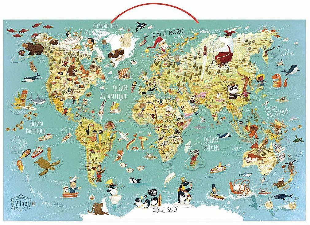 Vilac  mapa świata, magnetyczna, 76 x 50 x 1 (2720 s)
