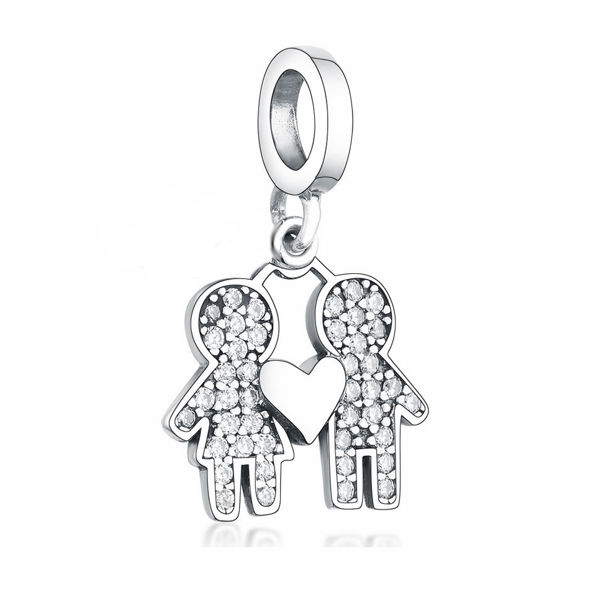 Rodowany srebrny wiszący charms do pandora chłopak z dziewczyną miłość love srebro 925 NEW210