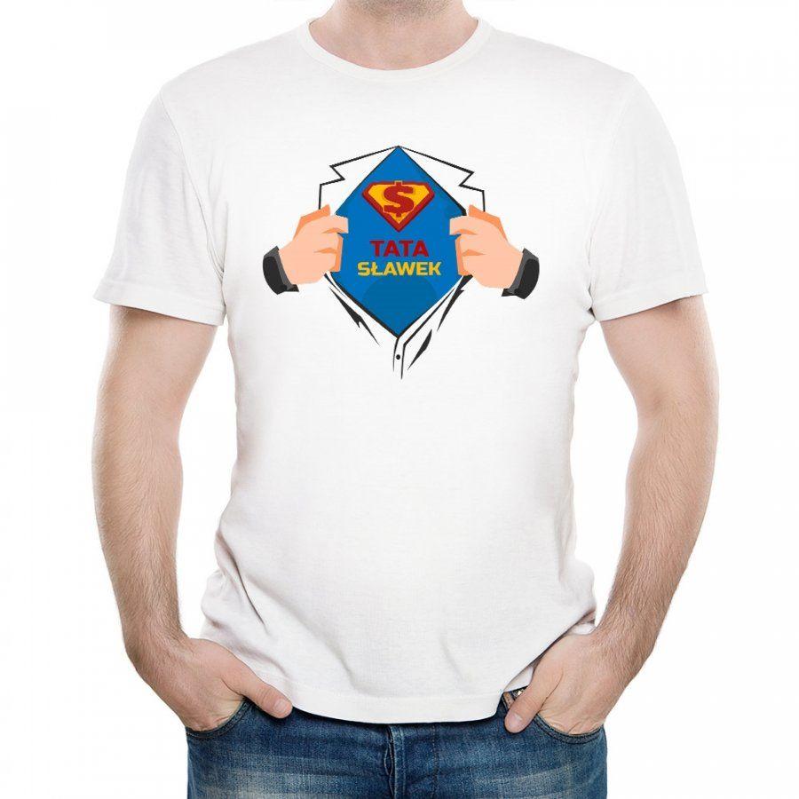 Koszulka Męska z Twoim Nadrukiem SUPER TATA