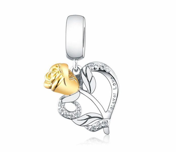 Rodowany srebrny wiszący charms do pandora róża miłości serce heart rose srebro 925 NEW209