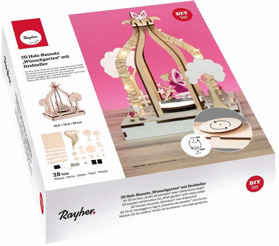 Rayher 63142505 drewniany zestaw 3D do samodzielnego montażu ogrodu FSCMixCred, naturalny, 18,5 x 18,5 x 25 cm, talerz obrotowy, 28-częściowy, pudełko