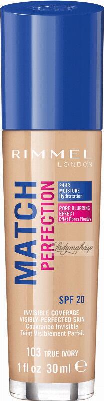 RIMMEL - MATCH PERFECTION FOUNDATION - Kryjący pokład do twarzy - 30 ml - 103 - TRUE IVORY