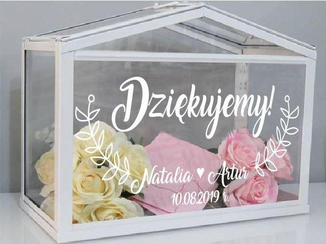 Naklejka ślubna Dziękujemy + imiona + listki