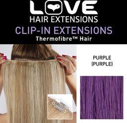 Love Hair Extensions Clip-In przedłużanie włosów Silky Straight Thermofaser, 45 cm, Purple