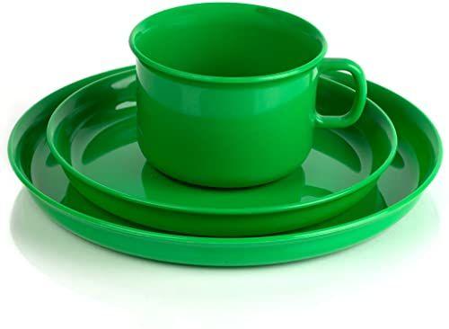 Kimmel nakrycie dziecięce składa się z filiżanki, spodka i talerza, tworzywa sztucznego, zielony