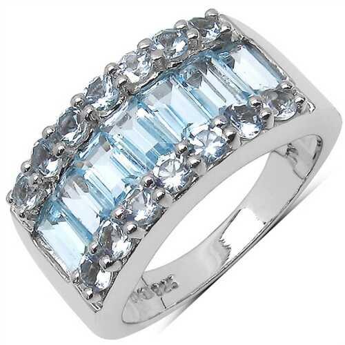 BELINDA Srebrny pierścionek z blue topaz 3,5 ct