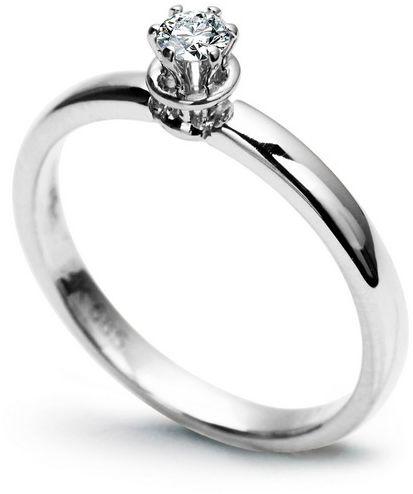 Staviori pierścionek zarczynowy z diamentem, szlif brylantowy, masa 0,10 ct. czystość si1. białe złoto 0,585.