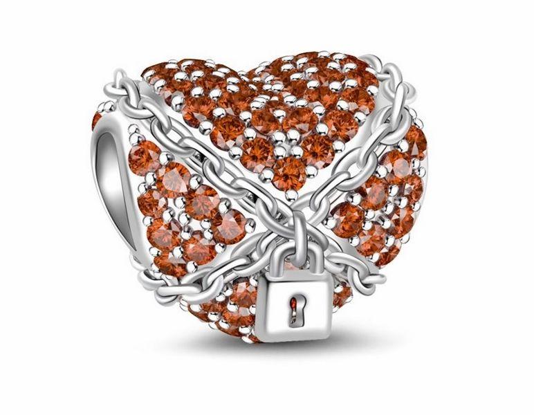 Rodowany srebrny charms do pandora skute łańcuchami serce cyrkonie srebro 925 NEW173
