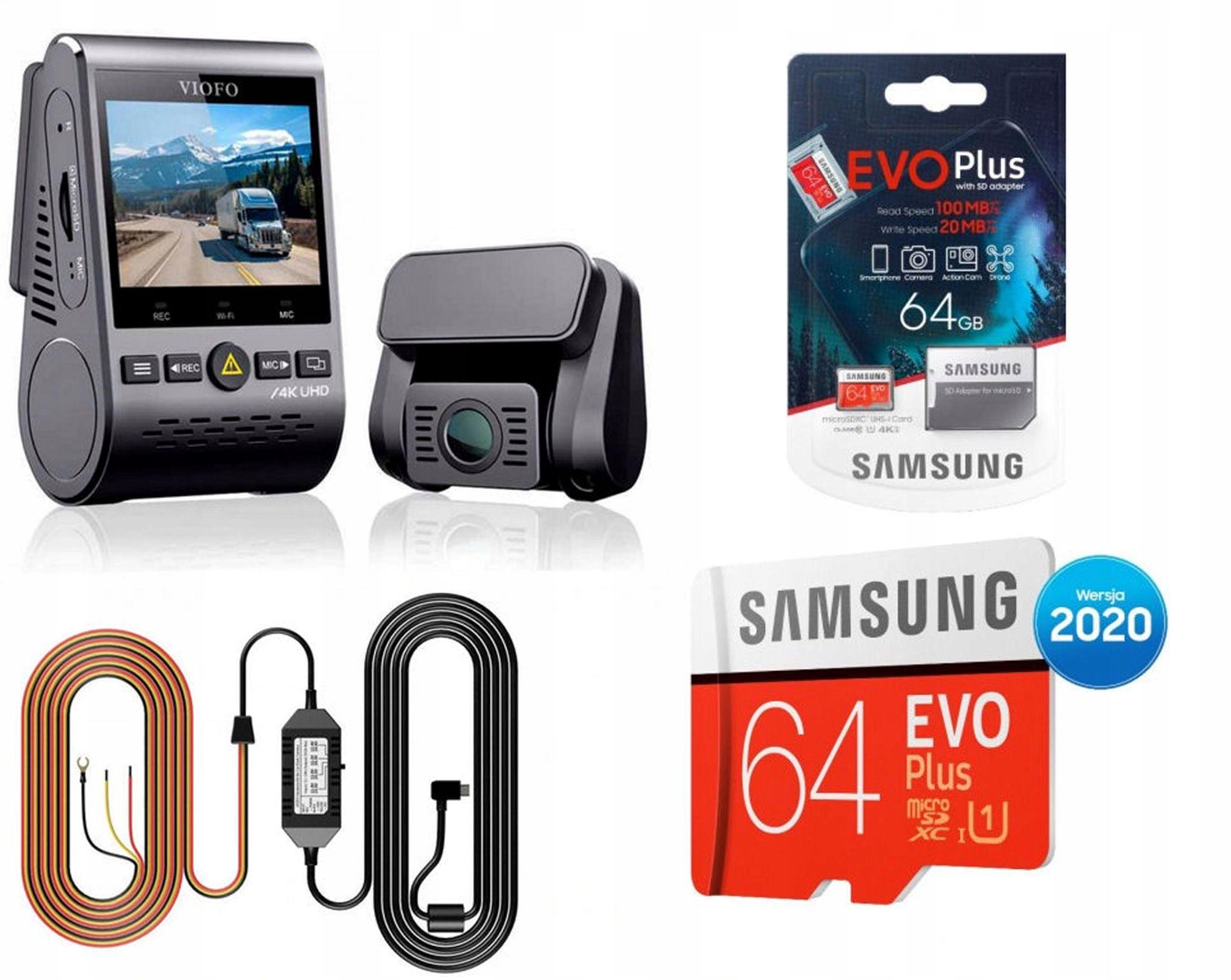 Rejestrator Kamera VIOFO A129 PLUS DUO-G+HK3+64GB Karta pamięci 64GB Zasilacz HK3 w zestawie