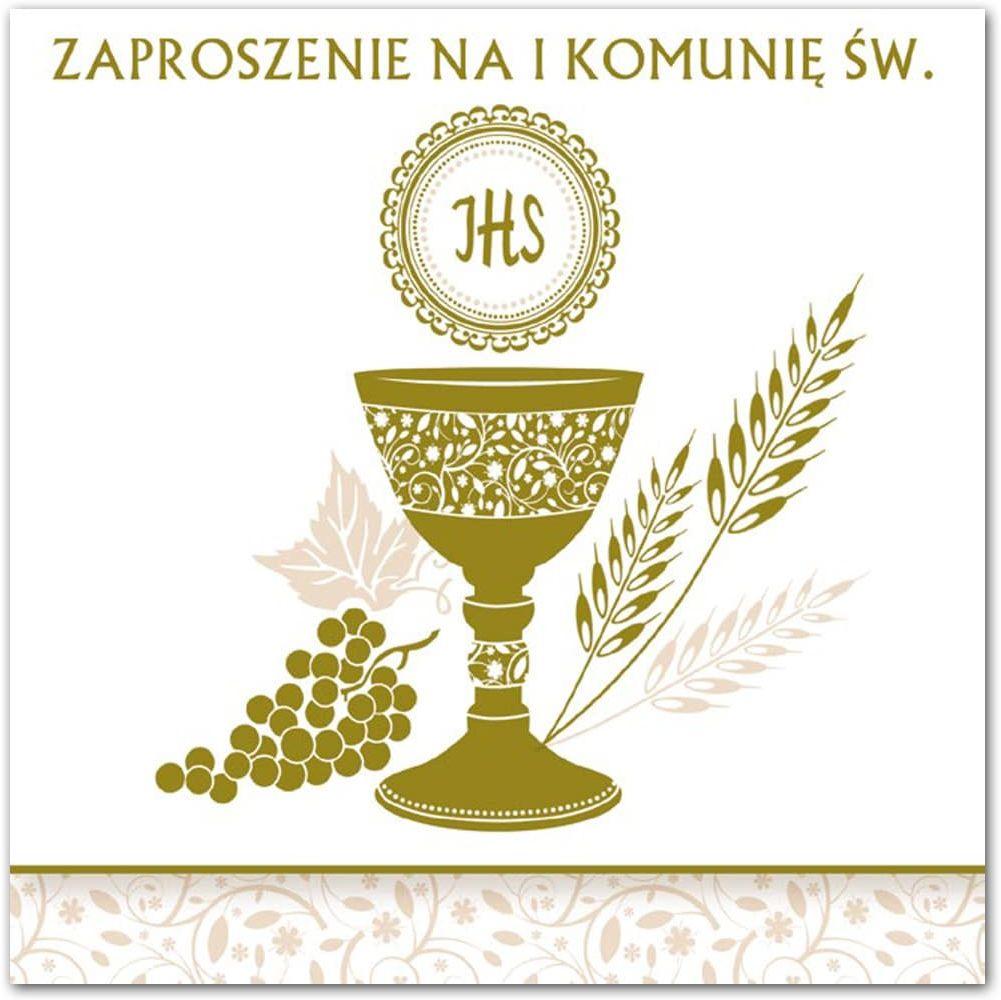 Zaproszenie na komunię z złotym nadrukiem - 1 szt.