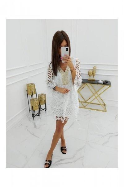 Sukienka damska vittoria ventini mayca cotton hy1036 white