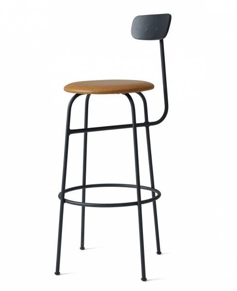 Menu AFTEROOM Stołek Krzesło Barowe 102 cm Hoker Tapicerowany Czarny - Siedzisko Skóra Cognac