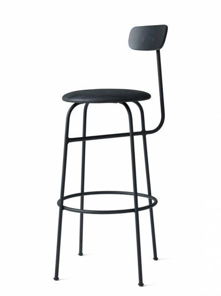 Menu AFTEROOM Stołek Krzesło Barowe 102 cm Hoker Tapicerowany Czarny - Siedzisko Skóra Black
