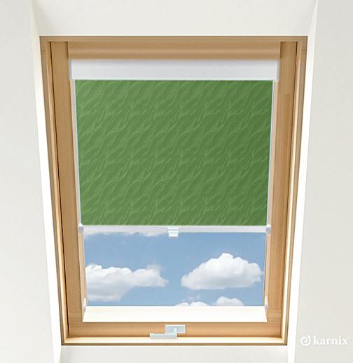 Roleta do okien dachowych BASIC AQUA - Green / Biały