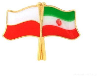 Flaga Polska - Iran, przypinka