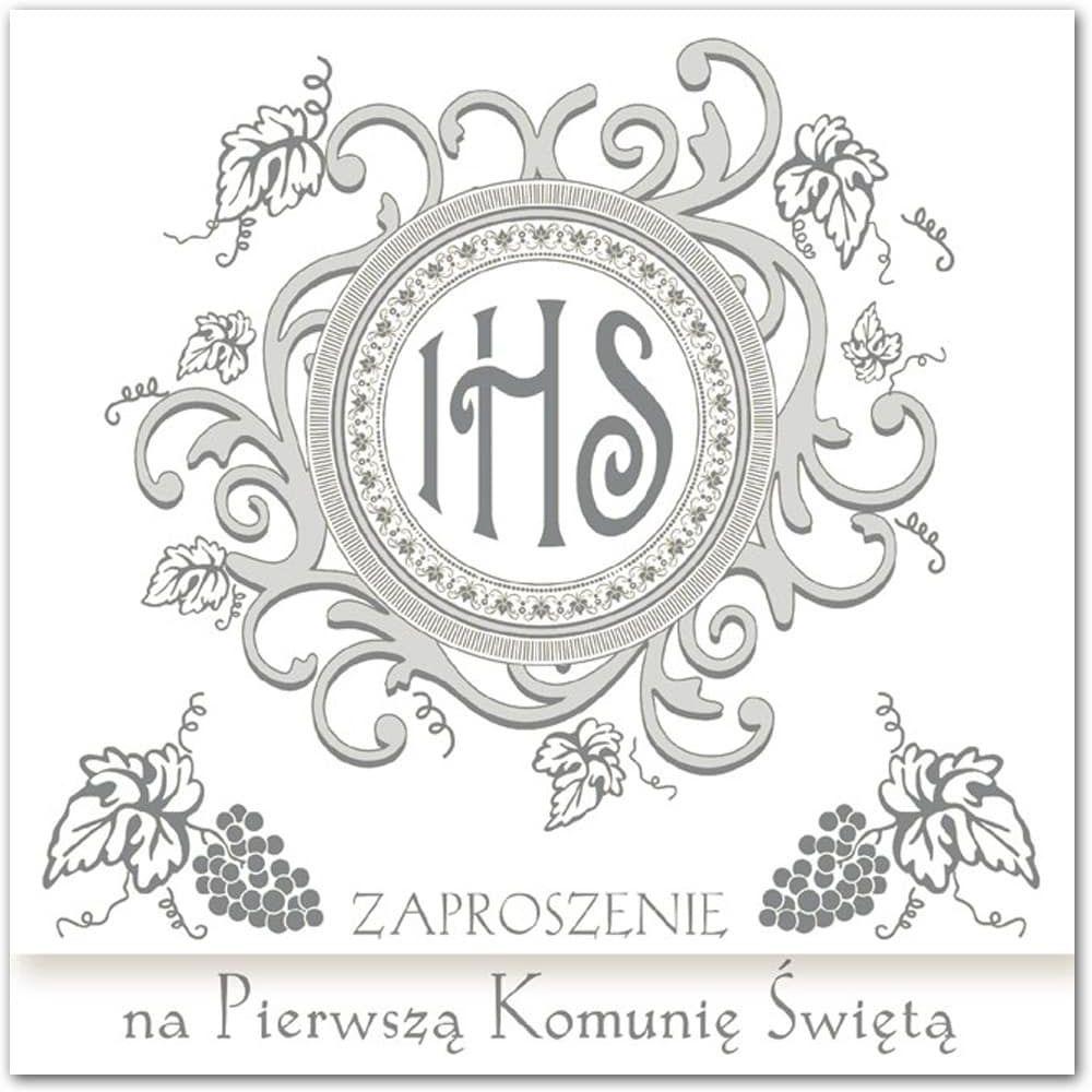 Zaproszenie na komunię z srebrnym nadrukiem - 1 szt.