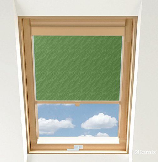 Roleta do okien dachowych - AQUA - Green / Sosna
