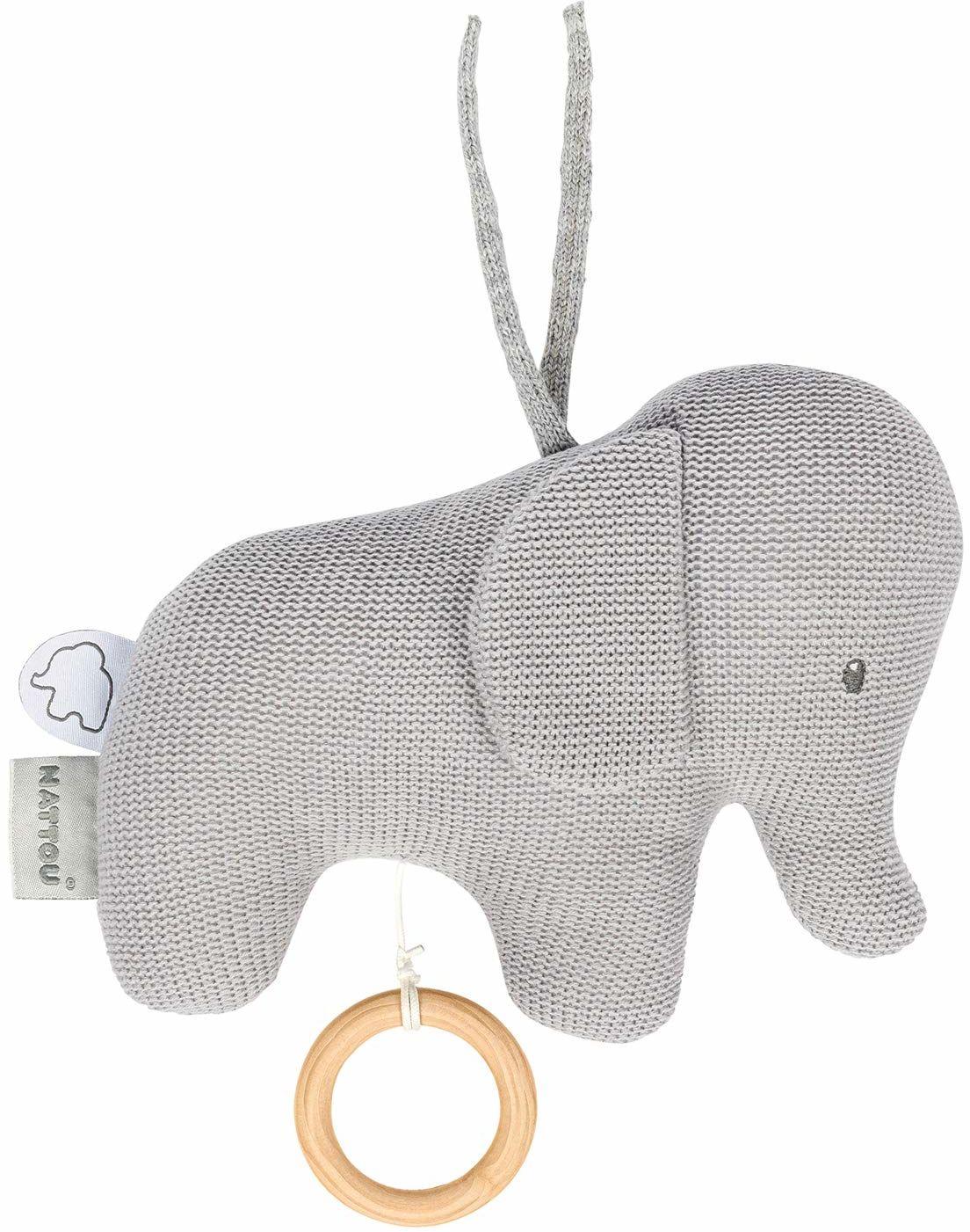Nattou 929042 Tembo Cotton Knitted Elephant Musical Soft Toy pozytywka, szara (dziergana), 18 x 21 cm