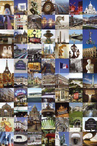 1art1 51483 Paris - kolaż, 70 zabytków plakat 91 x 61 cm