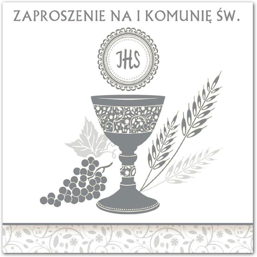 Zaproszenie na komunię ze srebrnym nadrukiem - 1 szt.