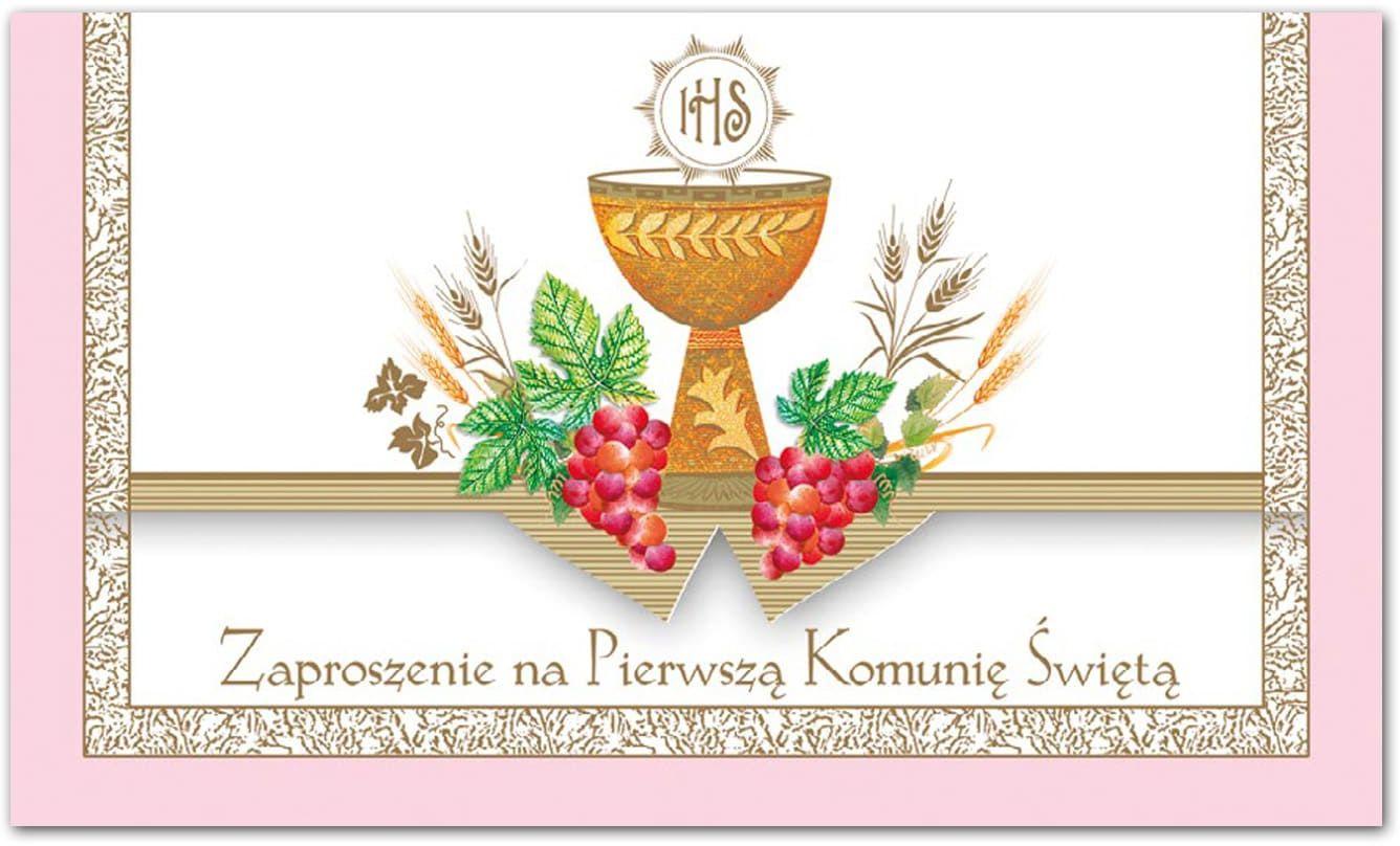 Zaproszenie na komunię różowe - 1 szt.
