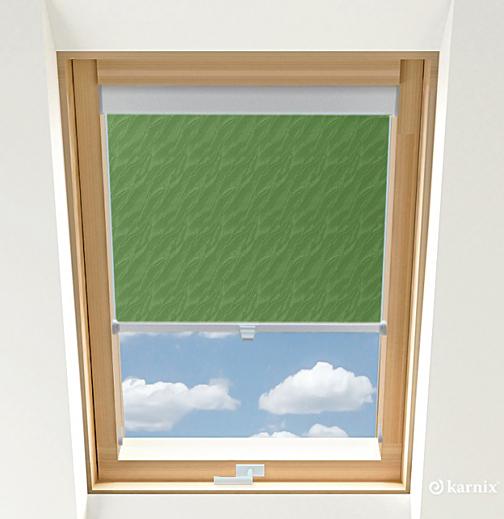Roleta do okien dachowych - AQUA - Green / Srebrny