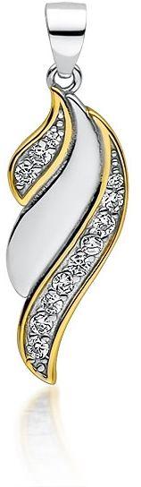 Delikatny pozłacany rodowany srebrny wisiorek skrzydła skrzydełka cyrkonia cyrkonie srebro 925 Z1727CGR