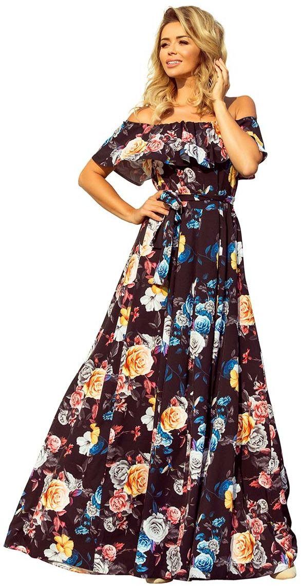 Czarna Kwiecista Maxi Sukienka z Hiszpańskim Dekoltem