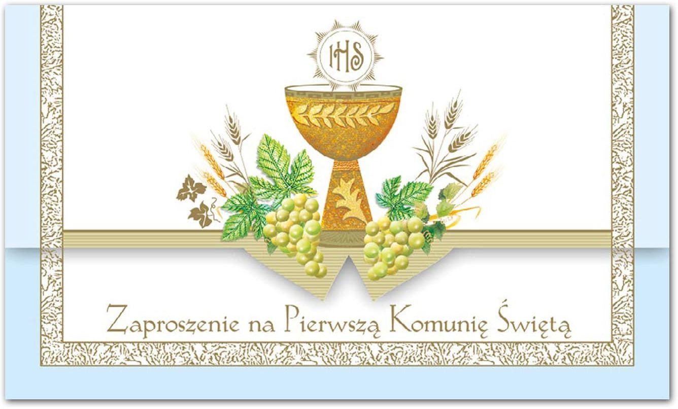 Zaproszenie na komunię niebieskie - 1 szt.