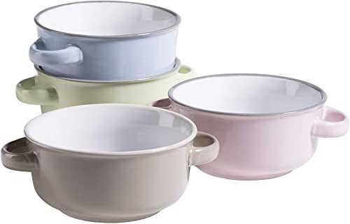 MÄSER Seria Maila kolorowe filiżanki do zupy dla 4 osób, z ceramiki o wyglądzie emalii, miski na zupę z uchwytem w stylu vintage, kamionka