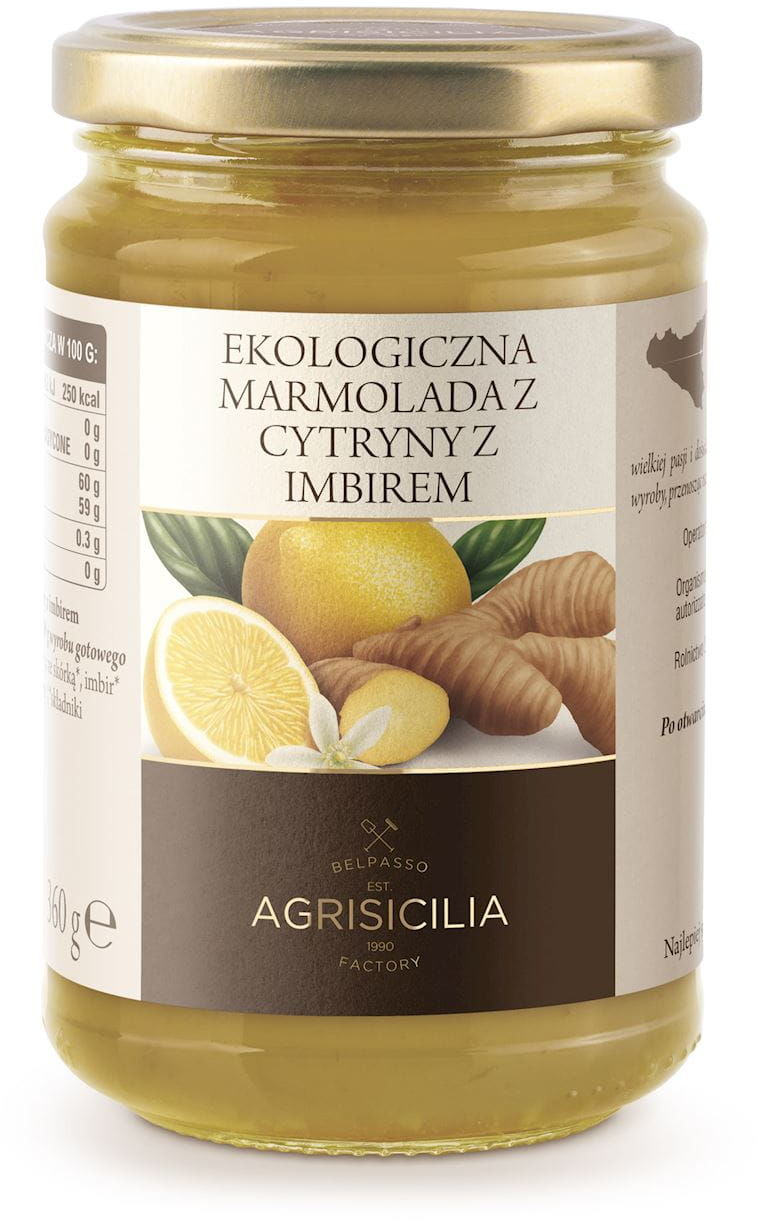 Marmolada z cytryn z imbirem bio 360 g - agrisicilia