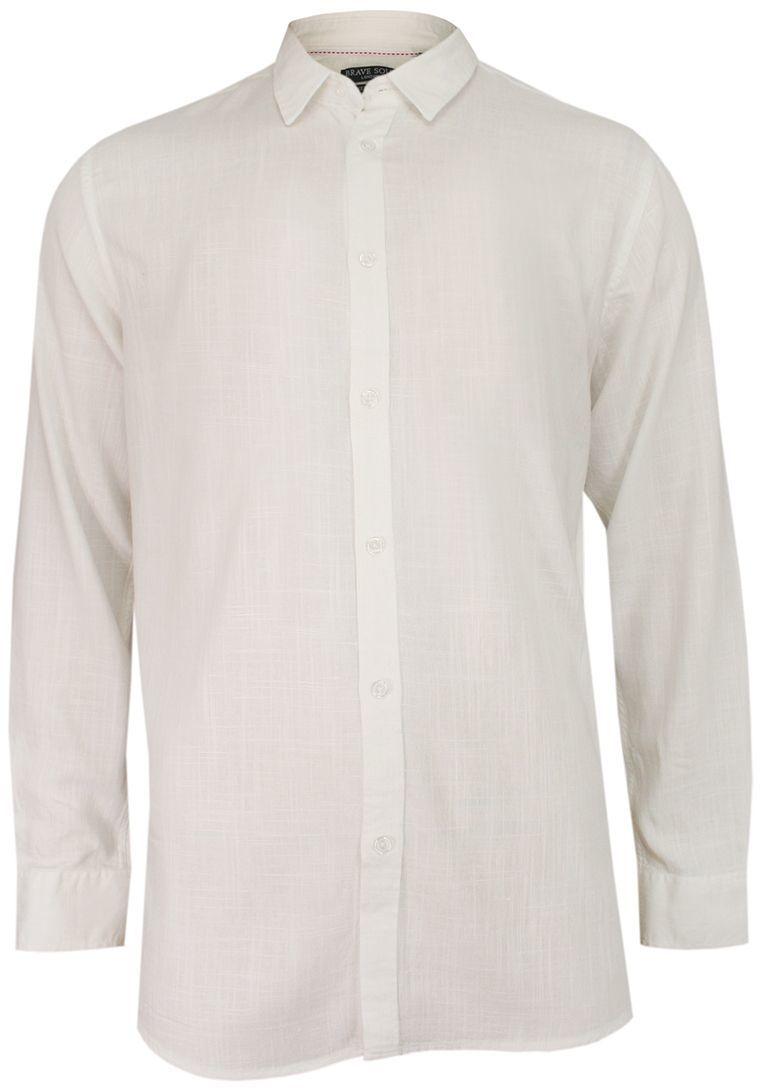 Biała Męska Koszula Weekendowa, Taliowana -BRAVE SOUL- z Lnem, Casualowa, Jednokolorowa, Długi Rękaw KSDCBRSSS20DUMFRIESopticwhite