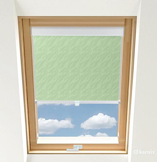 Roleta do okien dachowych - AQUA - Light Green / Biały