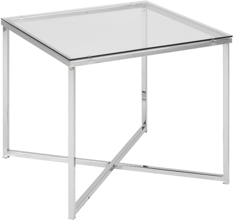 Stolik kwadratowy CROSS szklany, transparentny-chrom