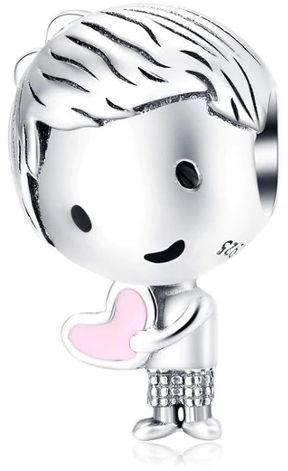 Rodowany srebrny charms do pandora chłopiec boy serce heart srebro 925 NEW130