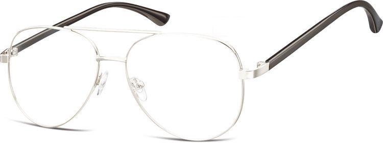 Okulary oprawki Pilotki zerówki metalowe korekcyjne 931A srebrne + czarne