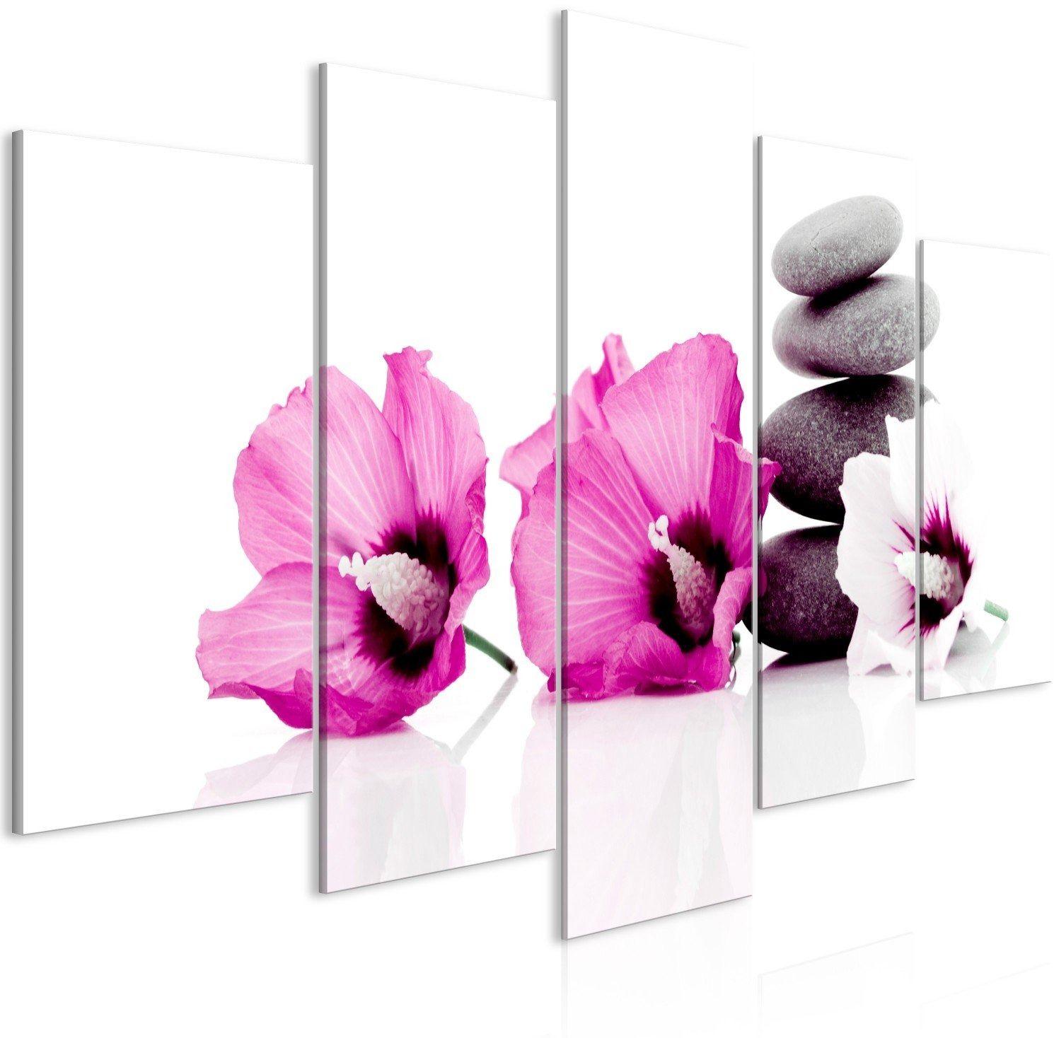 Obraz - spokojne malwy (5-częściowy) szeroki różowy
