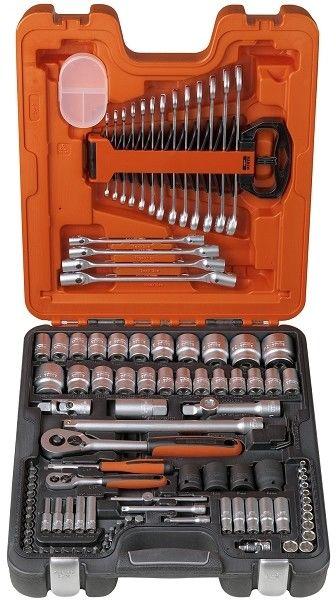 """zestaw kluczy nasadowych i akcesoriów 1/4"""" i 1/2"""", klucze imbusowe, płasko-oczkowe i nasadowe przegubowe 106 szt. BAHCO [S106]"""