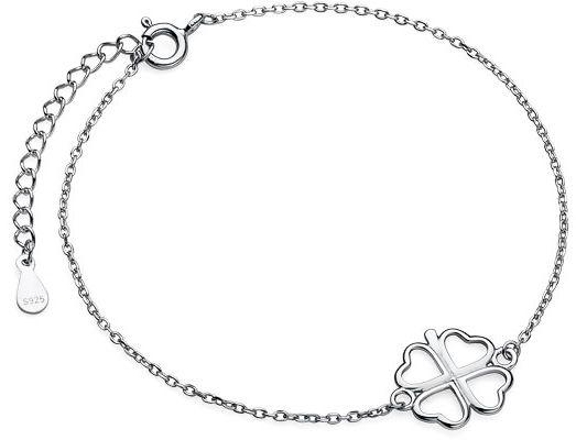 Rodowana srebrna bransoleta gwiazd celebrytka czterolistna koniczyna srebro 925 Z1701B