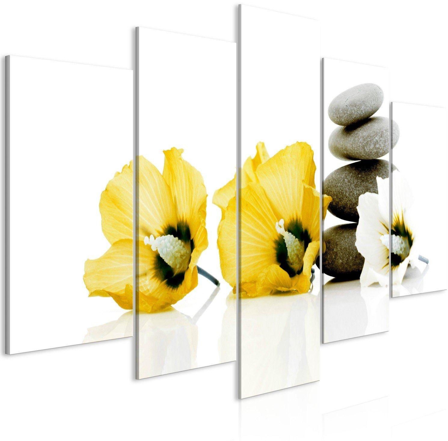 Obraz - spokojne malwy (5-częściowy) szeroki żółty