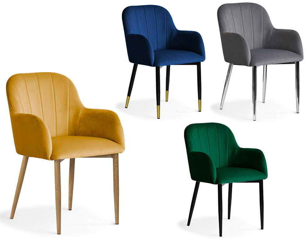 Krzesło tapicerowne TULIO różne kolory noga metalowa lub dębowa