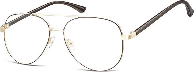 Okulary oprawki Pilotki zerówki metalowe korekcyjne 931C złote + czarne