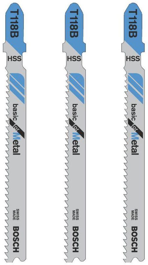 Brzeszczot do wyrzynarki 2.5 - 6 mm BASIC FOR METAL T118B 3 szt. BOSCH