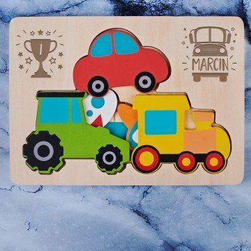 Auto - Drewniane puzzle warstwowe: Pojazdy