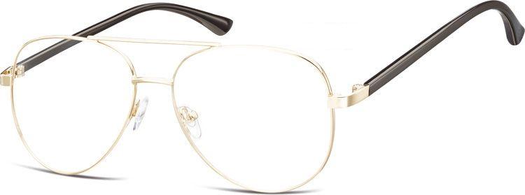 Okulary oprawki Pilotki zerówki metalowe korekcyjne 931D złote + czarne