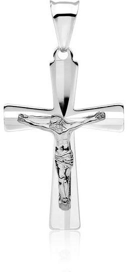 Rodowany srebrny krzyżyk krzyż diamentowany srebro 925 GKD051