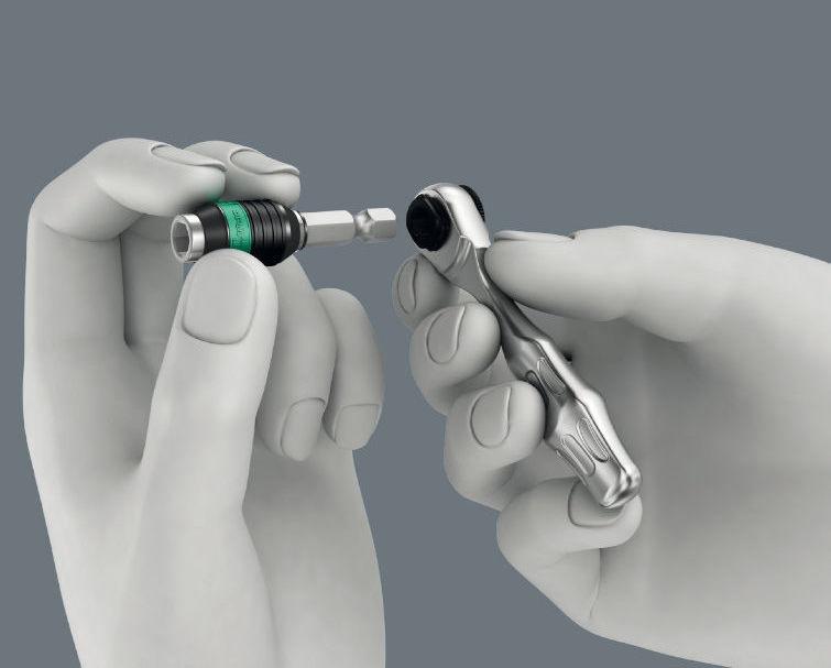 """zestaw końcówek i nasadek 1/4"""" z grzechotką Zyklop Mini 1 i rękojeścią wkrętakową, 39szt. Tool-Check Plus Wera [05056490001]"""