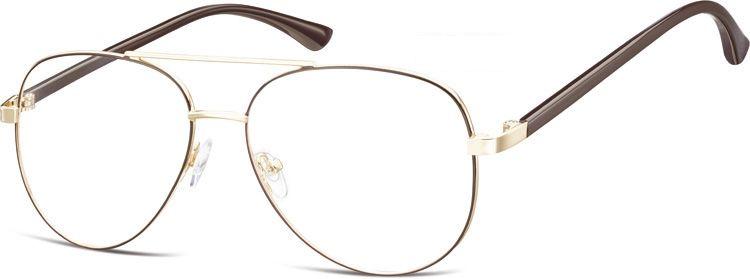 Okulary oprawki Pilotki zerówki metalowe korekcyjne 931E złote + ciemnobrązowe