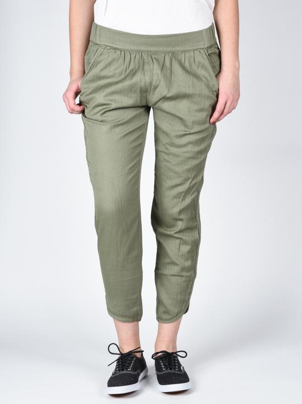 RVCA DAYDREAM SMOKE GREEN spodnie lniane kobiety - L